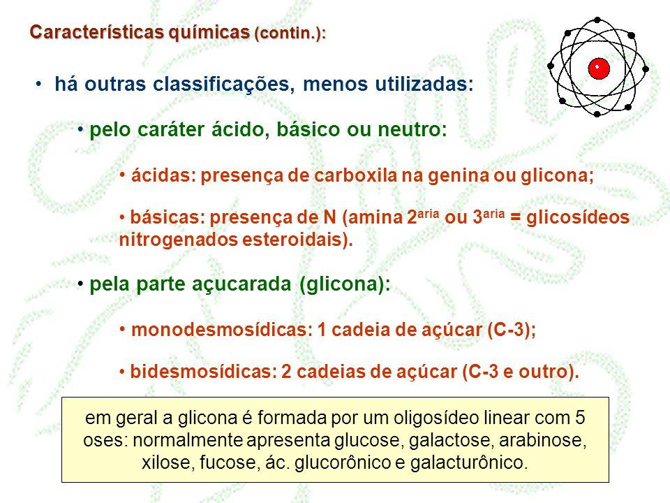 • há outras classificações, menos utilizadas: • pelo caráter ácido, básico ou neutro: • ácidas: presença de carboxila na genina ou glicona; • básicas: