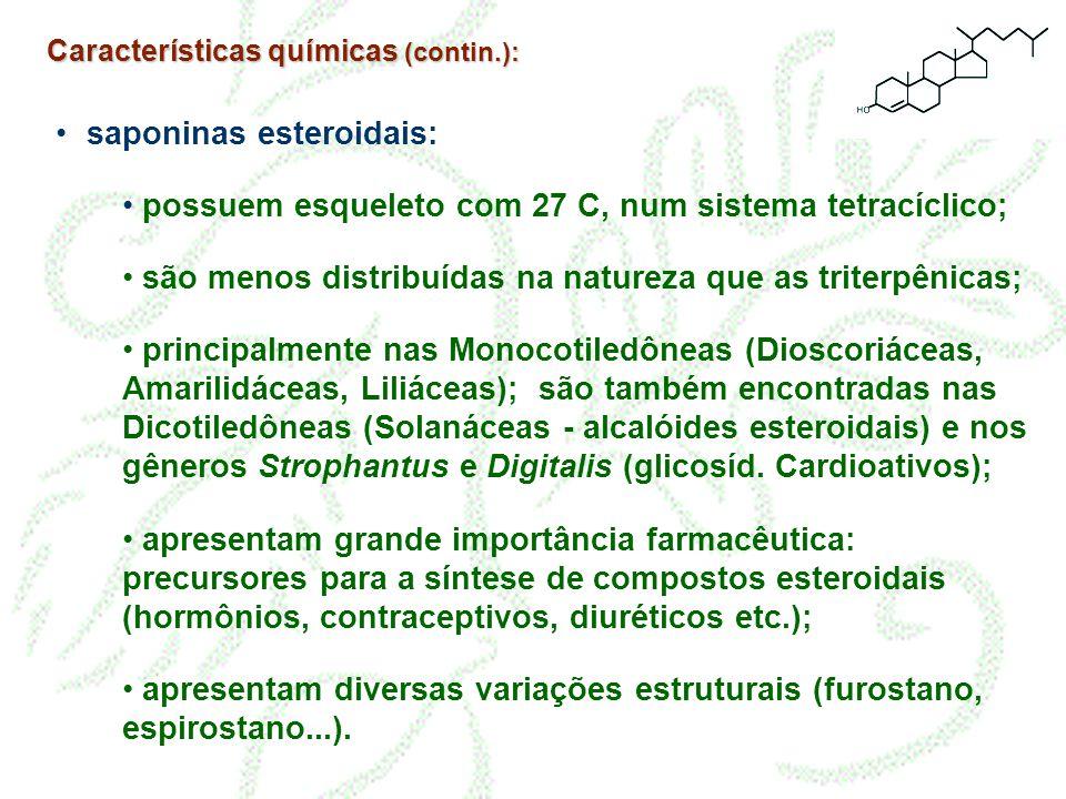 • saponinas esteroidais: • possuem esqueleto com 27 C, num sistema tetracíclico; • são menos distribuídas na natureza que as triterpênicas; • principa