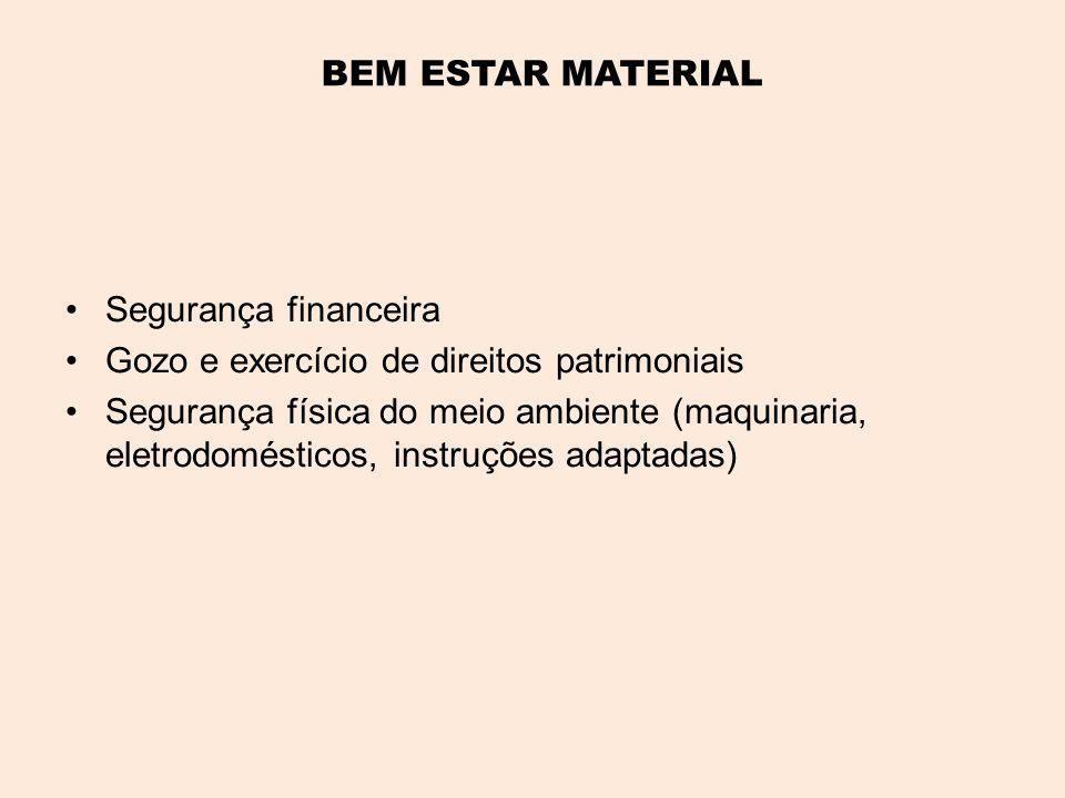 BEM ESTAR MATERIAL •Segurança financeira •Gozo e exercício de direitos patrimoniais •Segurança física do meio ambiente (maquinaria, eletrodomésticos, instruções adaptadas)