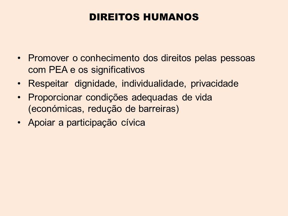 DIREITOS HUMANOS •Promover o conhecimento dos direitos pelas pessoas com PEA e os significativos •Respeitar dignidade, individualidade, privacidade •Proporcionar condições adequadas de vida (económicas, redução de barreiras) •Apoiar a participação cívica