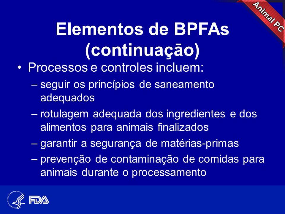 Elementos de BPFAs (continuaçāo) •Processos e controles incluem: –seguir os princípios de saneamento adequados –rotulagem adequada dos ingredientes e