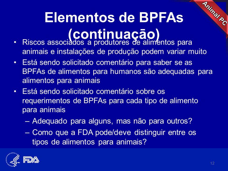 Elementos de BPFAs (continuaçāo) •Riscos associados a produtores de alimentos para animais e instalações de produção podem variar muito •Está sendo so