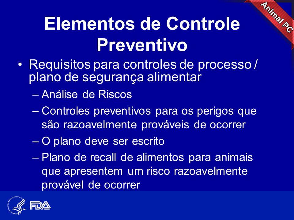Elementos de Controle Preventivo •Requisitos para controles de processo / plano de segurança alimentar –Análise de Riscos –Controles preventivos para