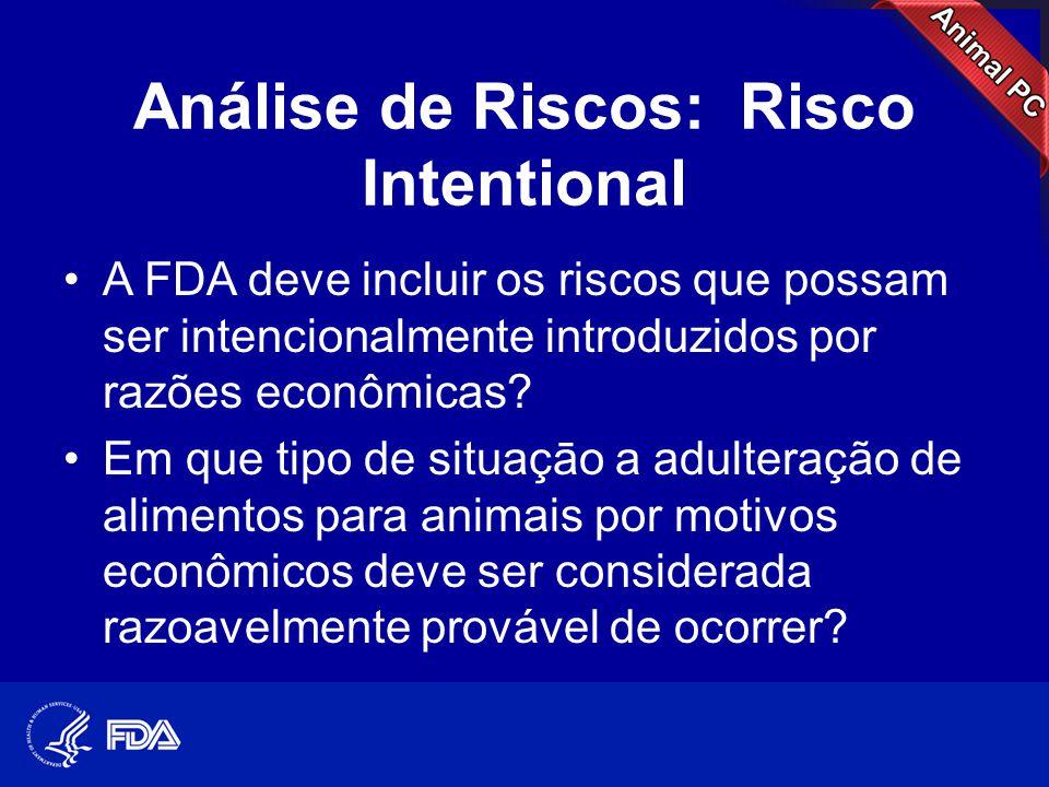 Análise de Riscos: Risco Intentional •A FDA deve incluir os riscos que possam ser intencionalmente introduzidos por razões econômicas? •Em que tipo de