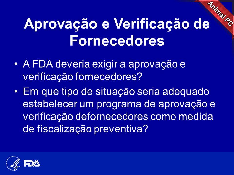 Aprovação e Verificação de Fornecedores •A FDA deveria exigir a aprovação e verificação fornecedores? •Em que tipo de situaçāo seria adequado estabele