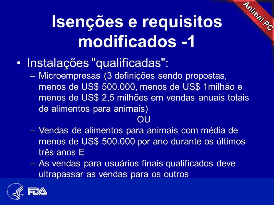 Isenções e requisitos modificados -1 •Instalações
