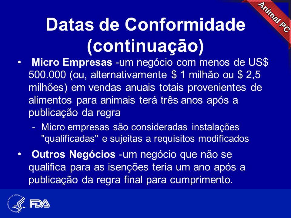 Datas de Conformidade (continuaçāo) • Micro Empresas -um negócio com menos de US$ 500.000 (ou, alternativamente $ 1 milhão ou $ 2,5 milhões) em vendas