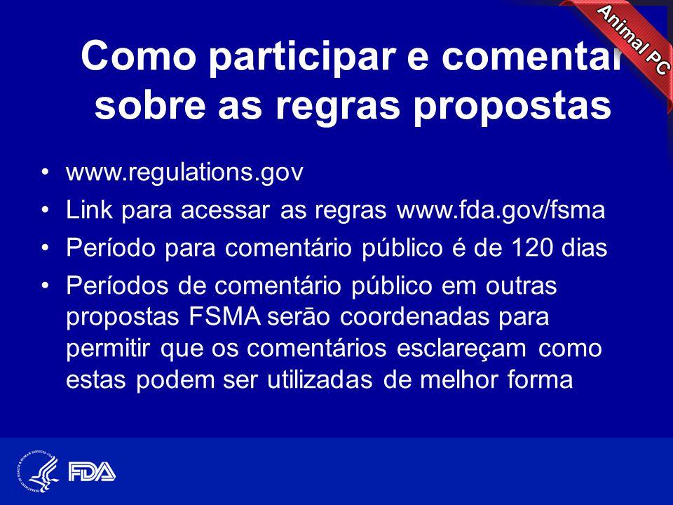 Como participar e comentar sobre as regras propostas •www.regulations.gov •Link para acessar as regras www.fda.gov/fsma •Período para comentário públi
