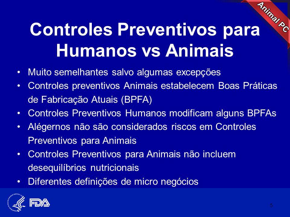 Controles Preventivos para Humanos vs Animais •Muito semelhantes salvo algumas excepções •Controles preventivos Animais estabelecem Boas Práticas de F
