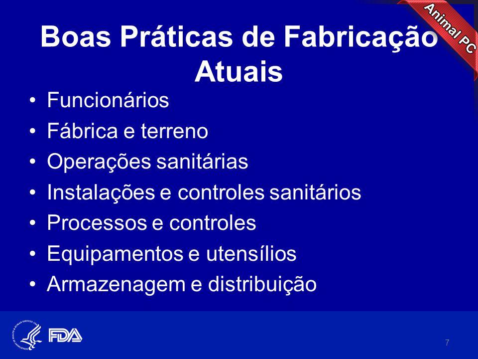 Boas Práticas de Fabricação Atuais •Funcionários •Fábrica e terreno •Operações sanitárias •Instalações e controles sanitários •Processos e controles •