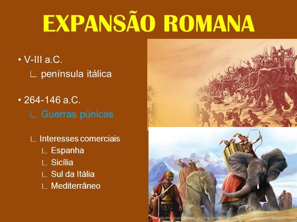 • V-III a.C. ∟ península itálica • 264-146 a.C. ∟ Guerras púnicas ∟ Interesses comerciais ∟ Espanha ∟ Sicília ∟ Sul da Itália ∟ Mediterrâneo EXPANSÃO