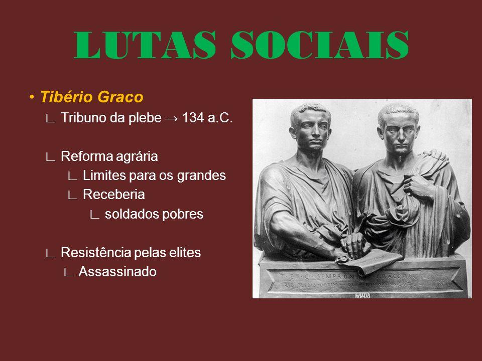 LUTAS SOCIAIS • Tibério Graco ∟ Tribuno da plebe → 134 a.C. ∟ Reforma agrária ∟ Limites para os grandes ∟ Receberia ∟ soldados pobres ∟ Resistência pe
