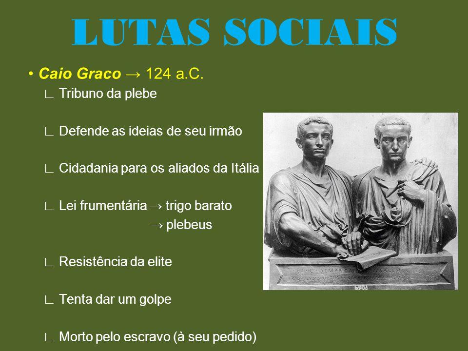 • Caio Graco → 124 a.C. ∟ Tribuno da plebe ∟ Defende as ideias de seu irmão ∟ Cidadania para os aliados da Itália ∟ Lei frumentária → trigo barato → p