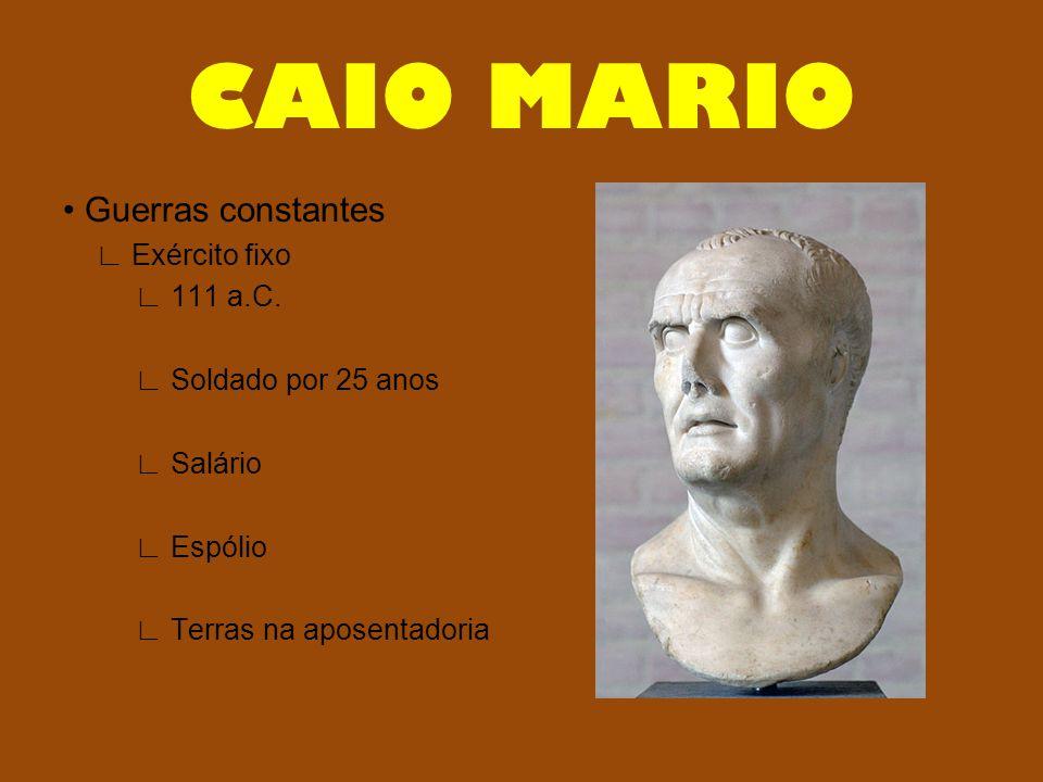 • Guerras constantes ∟ Exército fixo ∟ 111 a.C. ∟ Soldado por 25 anos ∟ Salário ∟ Espólio ∟ Terras na aposentadoria CAIO MARIO
