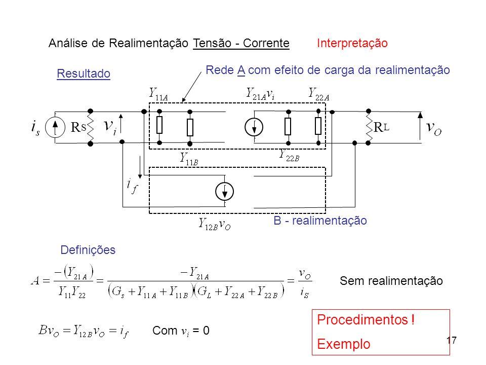17 Análise de Realimentação Tensão - Corrente Definições Interpretação Resultado Rede A com efeito de carga da realimentação B - realimentação Procedi