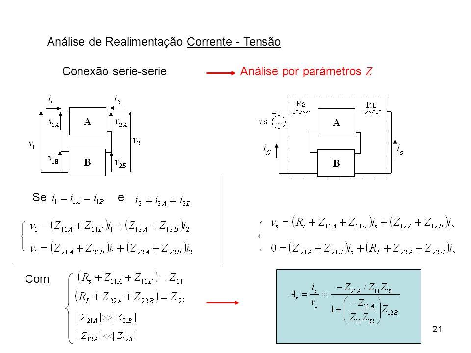 21 Análise de Realimentação Corrente - Tensão Conexão serie-serieAnálise por parámetros Z Com See