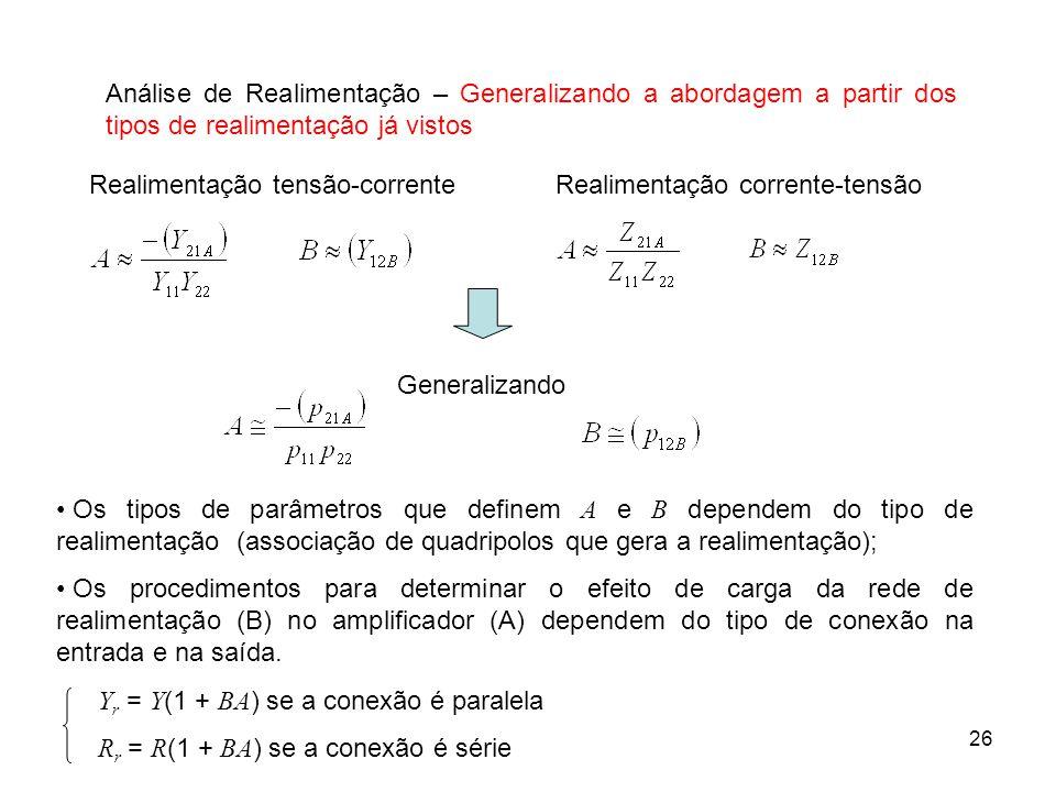 26 Análise de Realimentação – Generalizando a abordagem a partir dos tipos de realimentação já vistos Realimentação tensão-correnteRealimentação corre