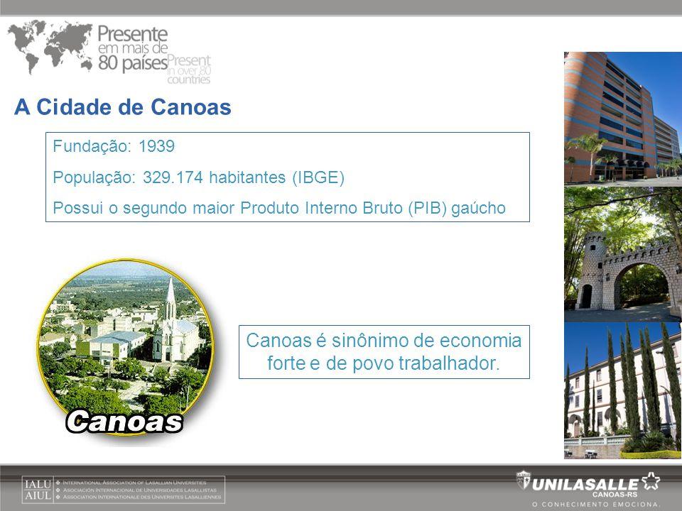 Fundação: 1939 População: 329.174 habitantes (IBGE) Possui o segundo maior Produto Interno Bruto (PIB) gaúcho A Cidade de Canoas Canoas é sinônimo de