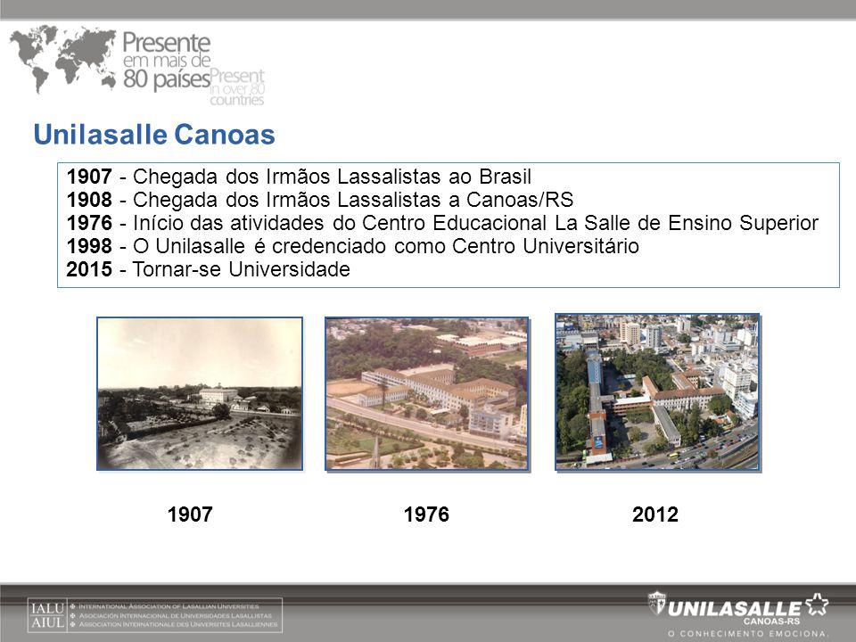 1907 - Chegada dos Irmãos Lassalistas ao Brasil 1908 - Chegada dos Irmãos Lassalistas a Canoas/RS 1976 - Início das atividades do Centro Educacional L