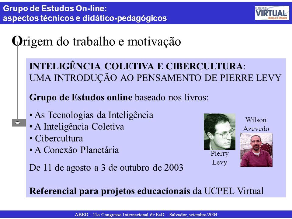 ABED – 11o Congresso Internacional de EaD – Salvador, setembro/2004 Grupo de Estudos On-line: aspectos técnicos e didático-pedagógicos O rigem do trab