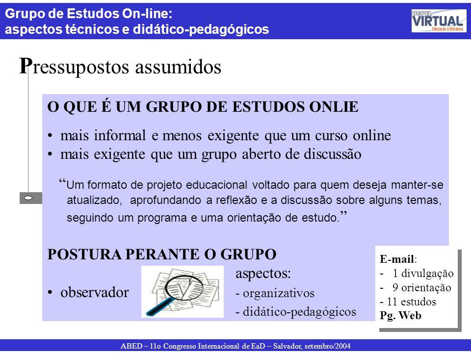 ABED – 11o Congresso Internacional de EaD – Salvador, setembro/2004 Grupo de Estudos On-line: aspectos técnicos e didático-pedagógicos P ressupostos a