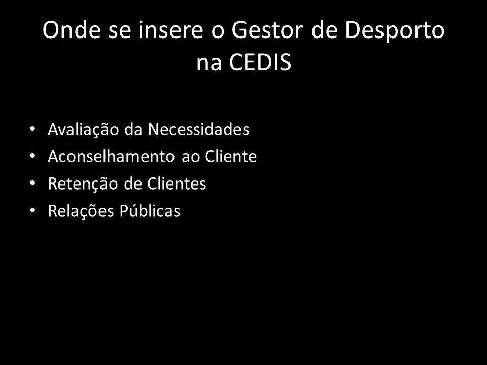 Onde se insere o Gestor de Desporto na CEDIS • Avaliação da Necessidades • Aconselhamento ao Cliente • Retenção de Clientes • Relações Públicas