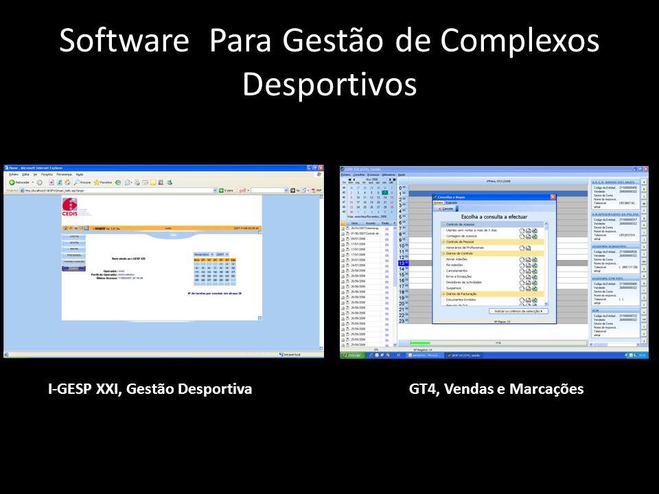 Software Para Gestão de Complexos Desportivos I-GESP XXI, Gestão DesportivaGT4, Vendas e Marcações