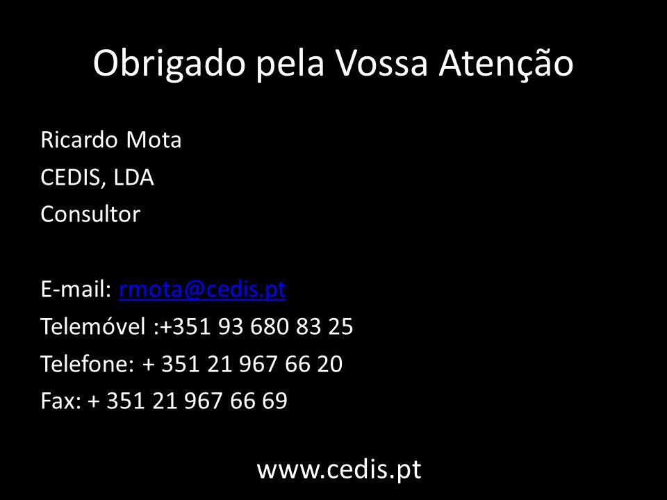 Obrigado pela Vossa Atenção Ricardo Mota CEDIS, LDA Consultor E-mail: rmota@cedis.ptrmota@cedis.pt Telemóvel :+351 93 680 83 25 Telefone: + 351 21 967 66 20 Fax: + 351 21 967 66 69 www.cedis.pt