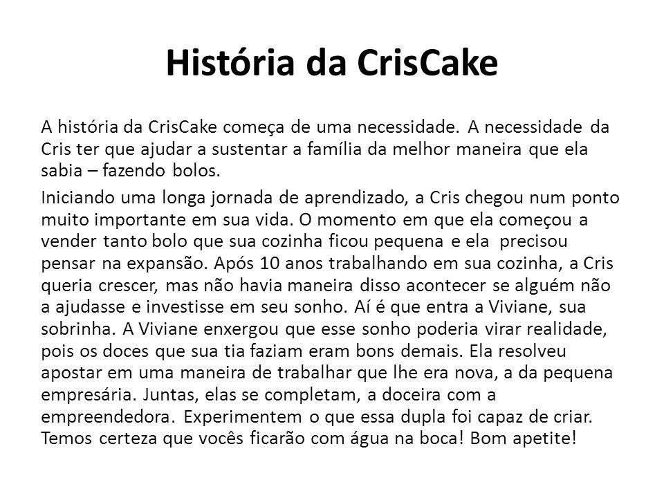 História da CrisCake A história da CrisCake começa de uma necessidade. A necessidade da Cris ter que ajudar a sustentar a família da melhor maneira qu