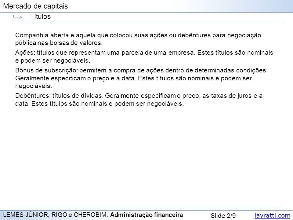 lavratti.com Slide 2/9 Mercado de capitais Títulos LEMES JÚNIOR, RIGO e CHEROBIM.