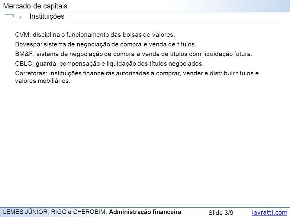 lavratti.com Slide 3/9 Mercado de capitais Instituições LEMES JÚNIOR, RIGO e CHEROBIM. Administração financeira. CVM: disciplina o funcionamento das b