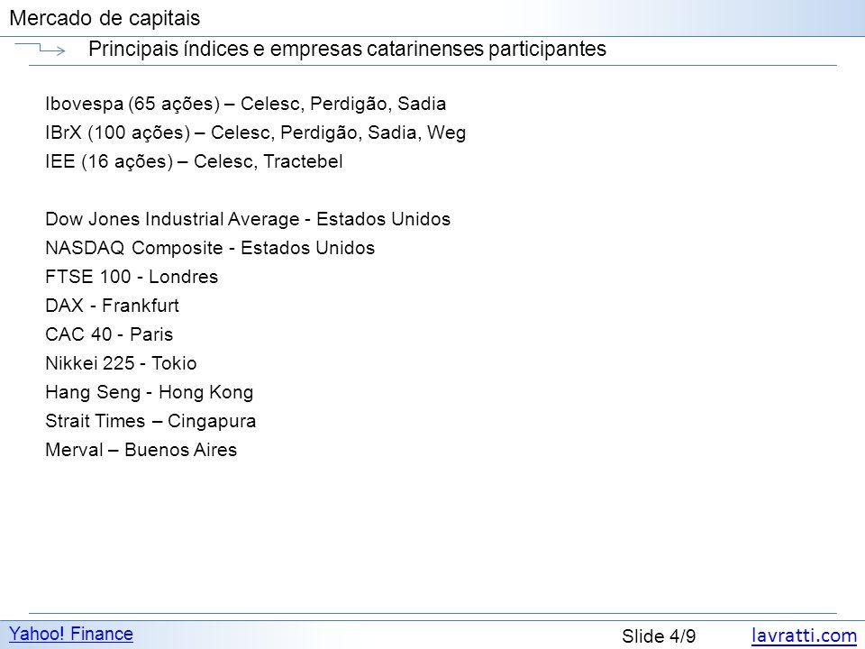 lavratti.com Slide 4/9 Mercado de capitais Principais índices e empresas catarinenses participantes Yahoo! Finance Ibovespa (65 ações) – Celesc, Perdi
