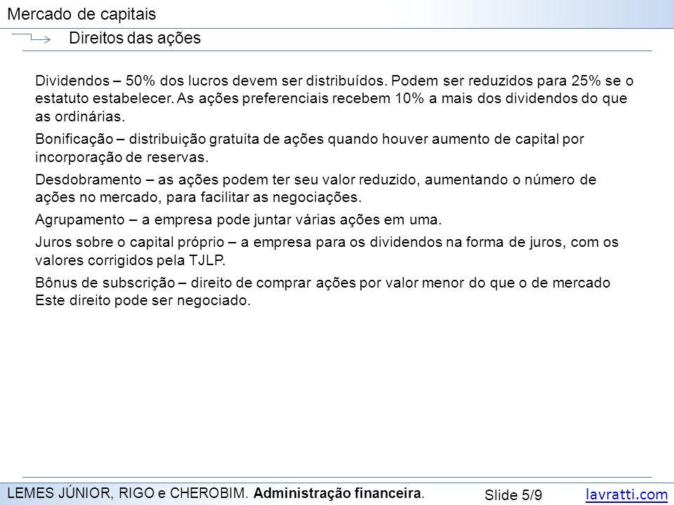 lavratti.com Slide 5/9 Mercado de capitais Direitos das ações LEMES JÚNIOR, RIGO e CHEROBIM. Administração financeira. Dividendos – 50% dos lucros dev