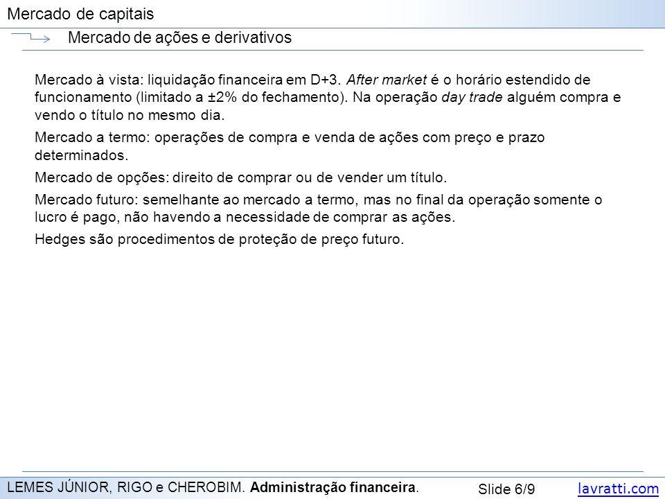 lavratti.com Slide 6/9 Mercado de capitais Mercado de ações e derivativos LEMES JÚNIOR, RIGO e CHEROBIM.