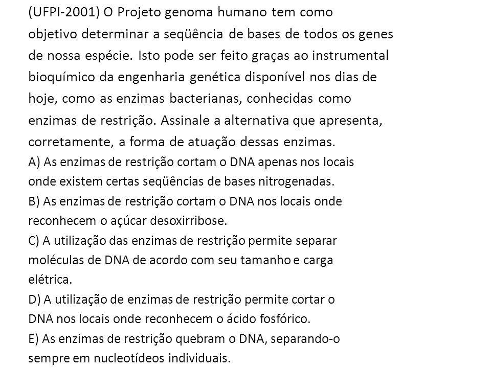 (UFPI-2001) O Projeto genoma humano tem como objetivo determinar a seqüência de bases de todos os genes de nossa espécie. Isto pode ser feito graças a