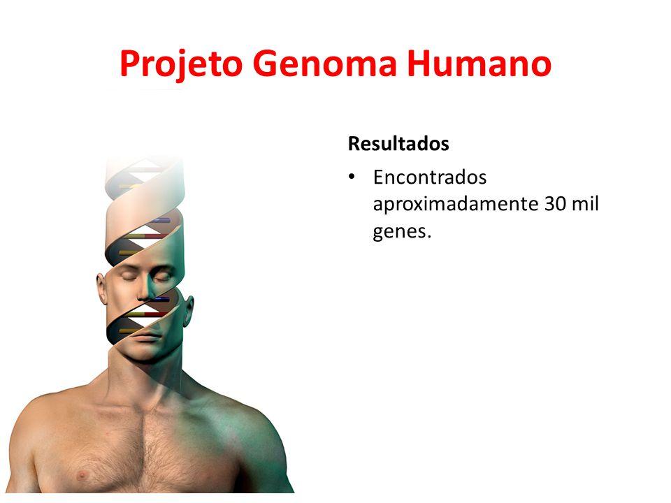 Projeto Genoma Humano Resultados • Encontrados aproximadamente 30 mil genes.
