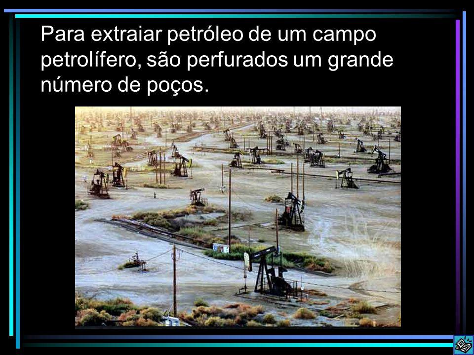 Para extraiar petróleo de um campo petrolífero, são perfurados um grande número de poços.