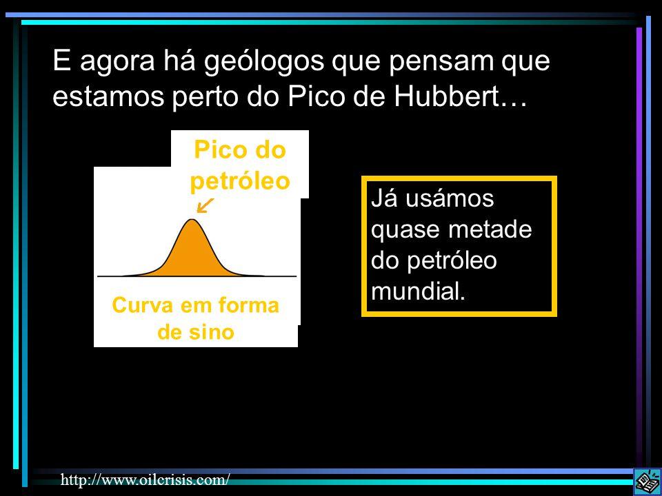 E agora há geólogos que pensam que estamos perto do Pico de Hubbert… Já usámos quase metade do petróleo mundial. http://www.oilcrisis.com/ Pico do pet