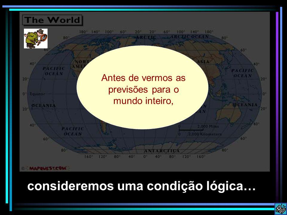 Before looking at predictions consideremos uma condição lógica… Antes de vermos as previsões para o mundo inteiro,