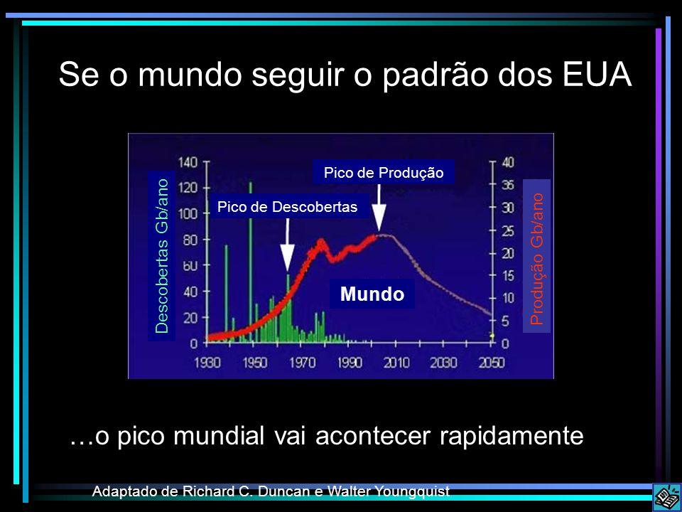 Se o mundo seguir o padrão dos EUA Adaptado de Richard C. Duncan e Walter Youngquist …o pico mundial vai acontecer rapidamente Pico de Descobertas Pic
