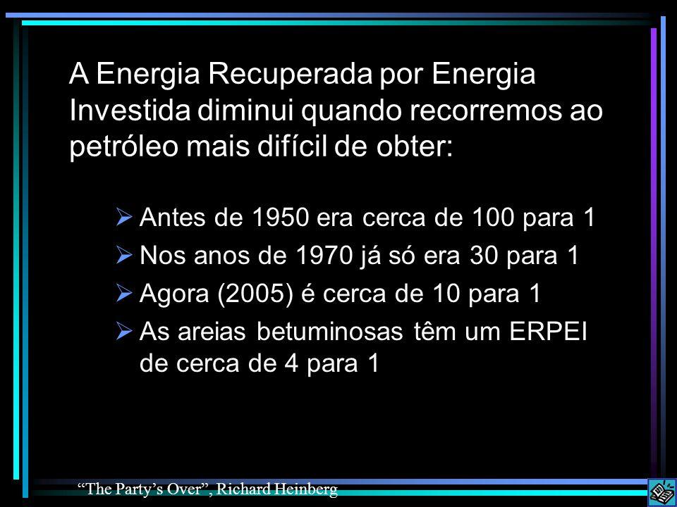  Antes de 1950 era cerca de 100 para 1  Nos anos de 1970 já só era 30 para 1  Agora (2005) é cerca de 10 para 1  As areias betuminosas têm um ERPEI de cerca de 4 para 1 The Party's Over , Richard Heinberg A Energia Recuperada por Energia Investida diminui quando recorremos ao petróleo mais difícil de obter: