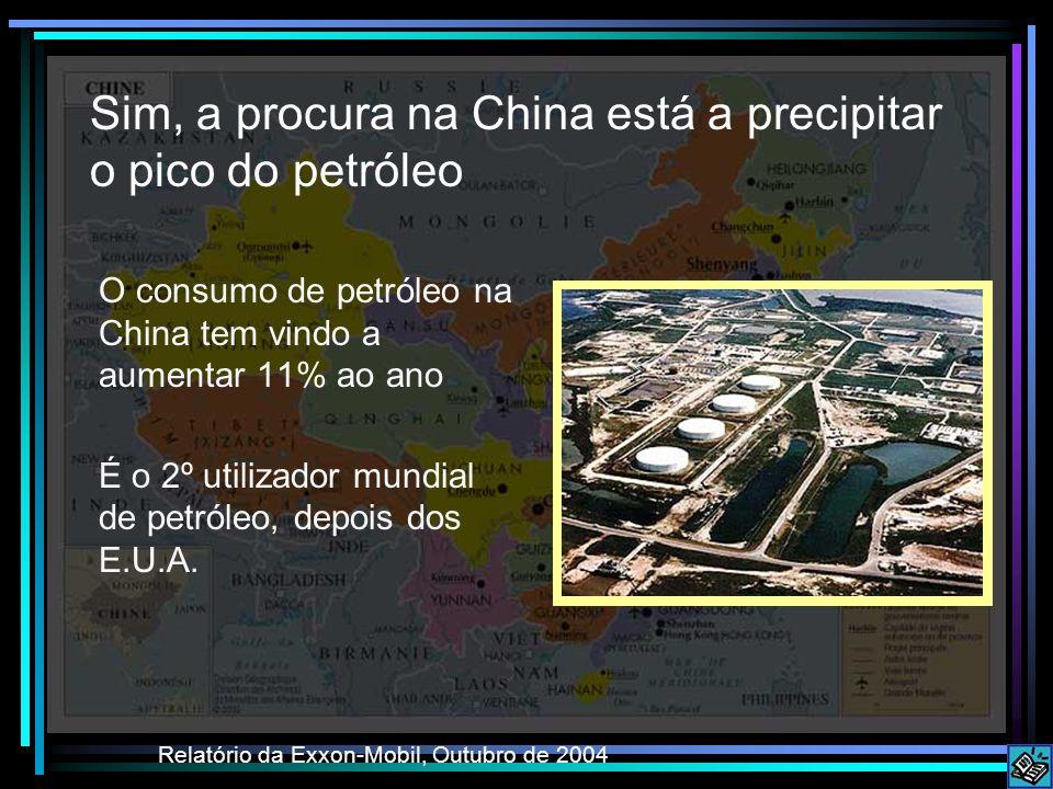 Sim, a procura na China está a precipitar o pico do petróleo O consumo de petróleo na China tem vindo a aumentar 11% ao ano É o 2º utilizador mundial de petróleo, depois dos E.U.A.
