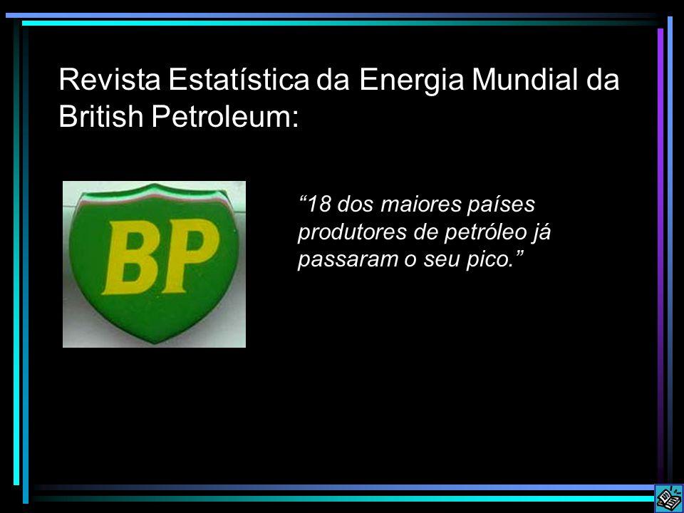 Revista Estatística da Energia Mundial da British Petroleum: 18 dos maiores países produtores de petróleo já passaram o seu pico.