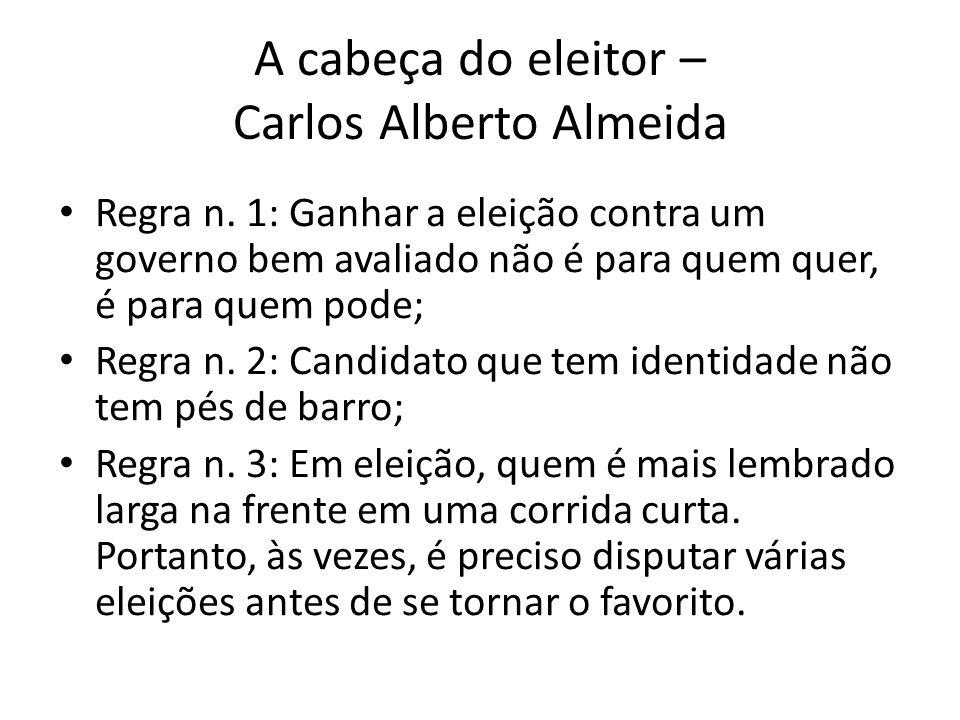 A cabeça do eleitor – Carlos Alberto Almeida • Regra n. 1: Ganhar a eleição contra um governo bem avaliado não é para quem quer, é para quem pode; • R