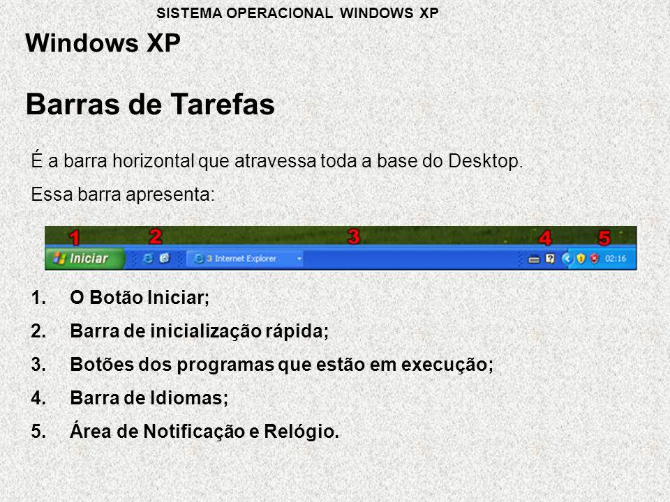 Barras de Tarefas É a barra horizontal que atravessa toda a base do Desktop.