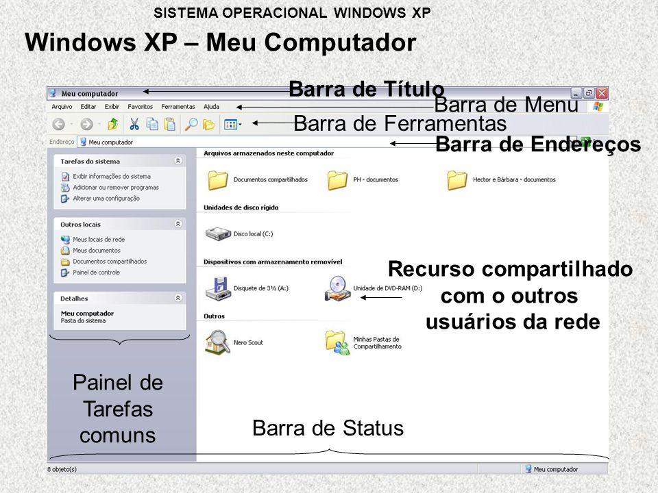 Barra de Título Barra de Menu Painel de Tarefas comuns Barra de Status Barra de Ferramentas Barra de Endereços Recurso compartilhado com o outros usuários da rede Windows XP – Meu Computador SISTEMA OPERACIONAL WINDOWS XP