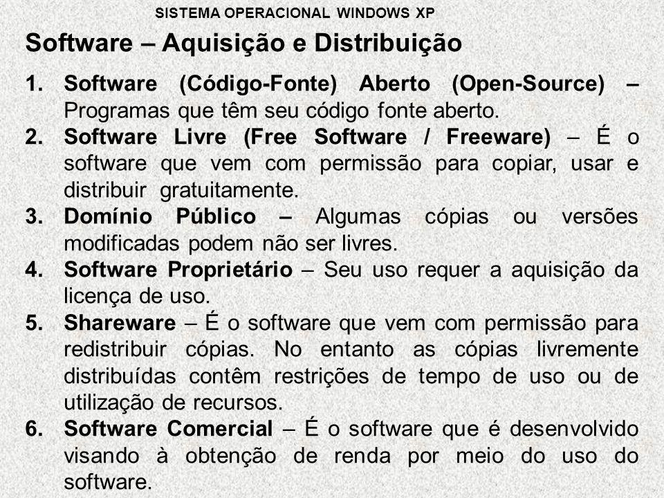 Software – Aquisição e Distribuição SISTEMA OPERACIONAL WINDOWS XP 1.Software (Código-Fonte) Aberto (Open-Source) – Programas que têm seu código fonte aberto.