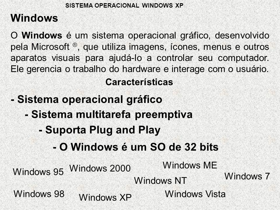 O Windows é um sistema operacional gráfico, desenvolvido pela Microsoft ®, que utiliza imagens, ícones, menus e outros aparatos visuais para ajudá-lo a controlar seu computador.