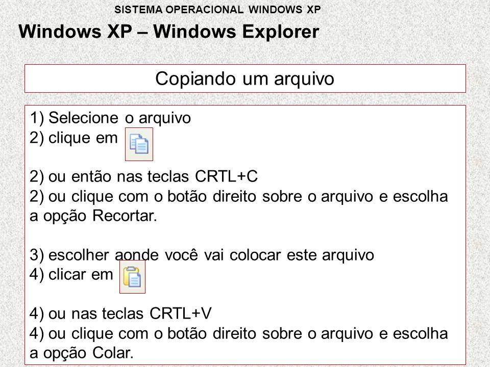 Copiando um arquivo 1) Selecione o arquivo 2) clique em 2) ou então nas teclas CRTL+C 2) ou clique com o botão direito sobre o arquivo e escolha a opção Recortar.