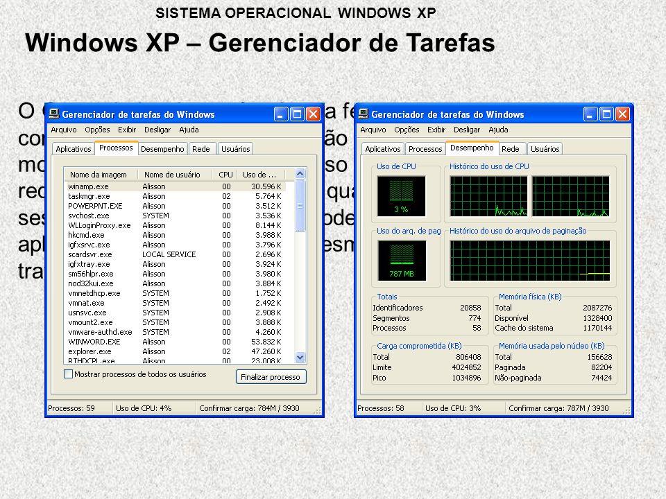 O Gerenciador de tarefas é uma ferramenta que nos permite controlar as aplicações que estão sendo executadas nesse momento, o rendimento de nosso computador, a conexão de rede, além de podermos saber quais usuários tem uma sessão iniciada, através dele podemos fechar qualquer aplicação que esteja aberta, mesmo que a mesma esteja travada Windows XP – Gerenciador de Tarefas SISTEMA OPERACIONAL WINDOWS XP